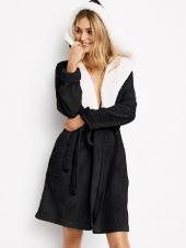 Juodos spalvos Victoria's Secret chalatas su gobtuvu